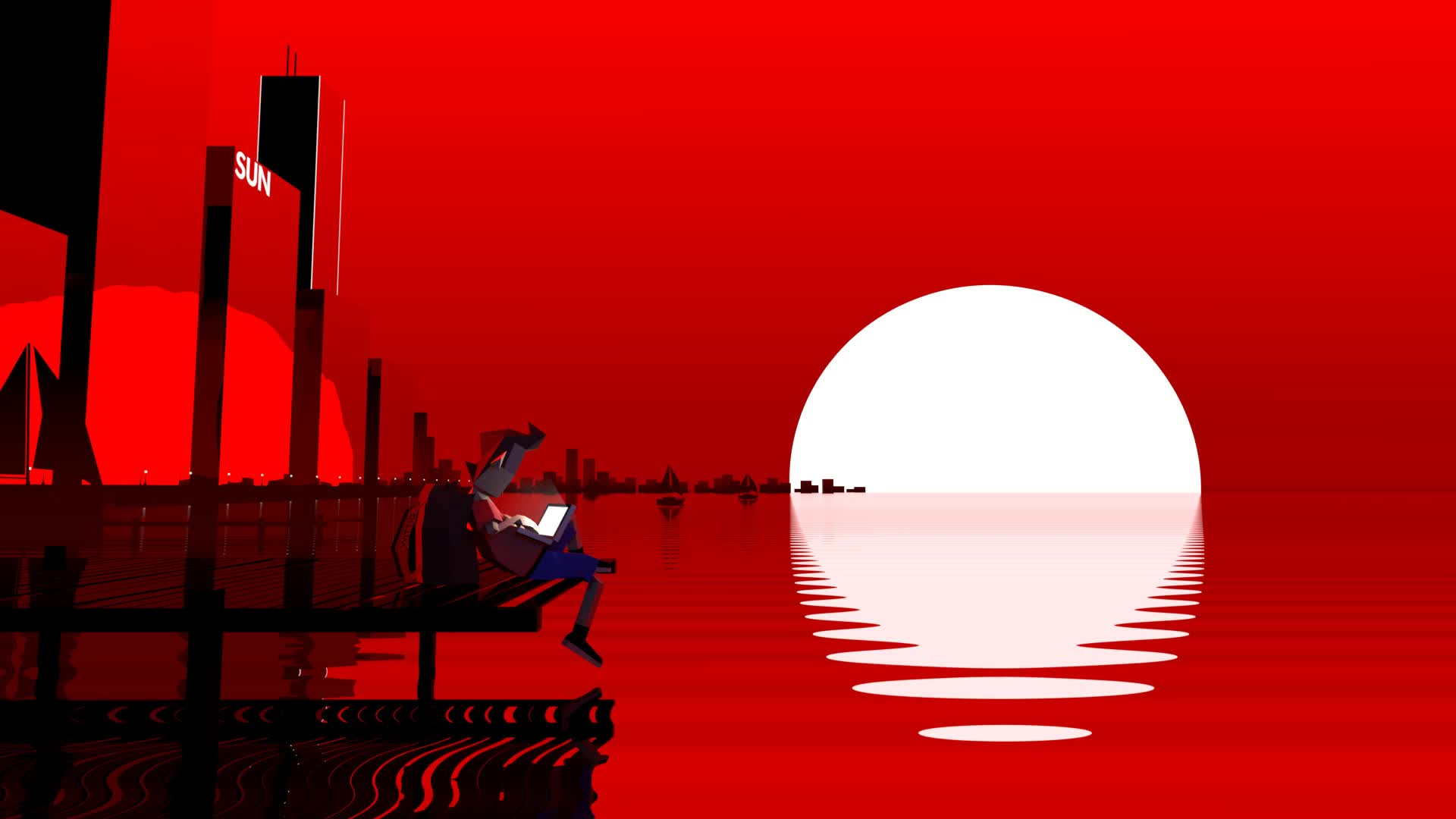 japan, low poly, sun, sunset, Low Poly Cinemagraph