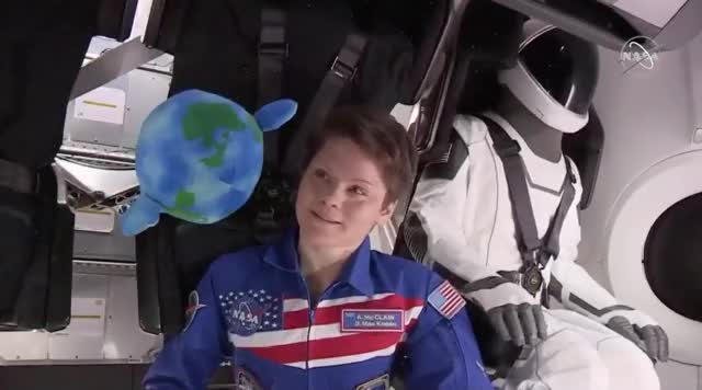 Watch NASA astronaut Anne McClain floating with plush Earth toy in SpaceX's Crew Dragon spaceshi GIF by Dave Mosher (@davemosher) on Gfycat. Discover more anne mcclain, astronauts, commercial crew program, crew dragon, earth, nasa, nasa tv, ripley, space, spaceships, spacex, toys GIFs on Gfycat