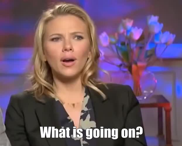 Confused, Scarlett Johanssen, WTF, What, What is going on? GIFs