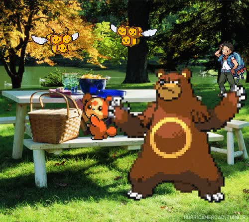 Watch and share My Gif Pokemon Ursaring 1kgif Picnic Teddiursa Pkmnspritegif Combee GIFs on Gfycat