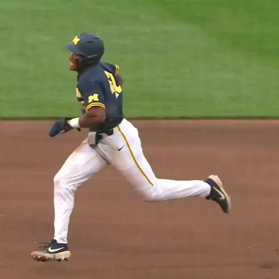 baseball, michigan player makes tough slide, still safe, This ... did not go as planned 😬 GIFs