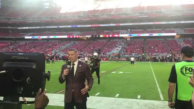 Larry Fitzgerald sacks Kurt Warner pregame GIFs