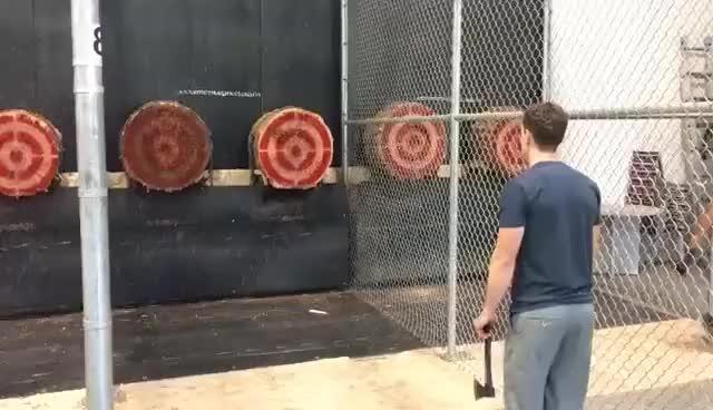 Watch and share Double Bullseye Axe Throw GIFs on Gfycat