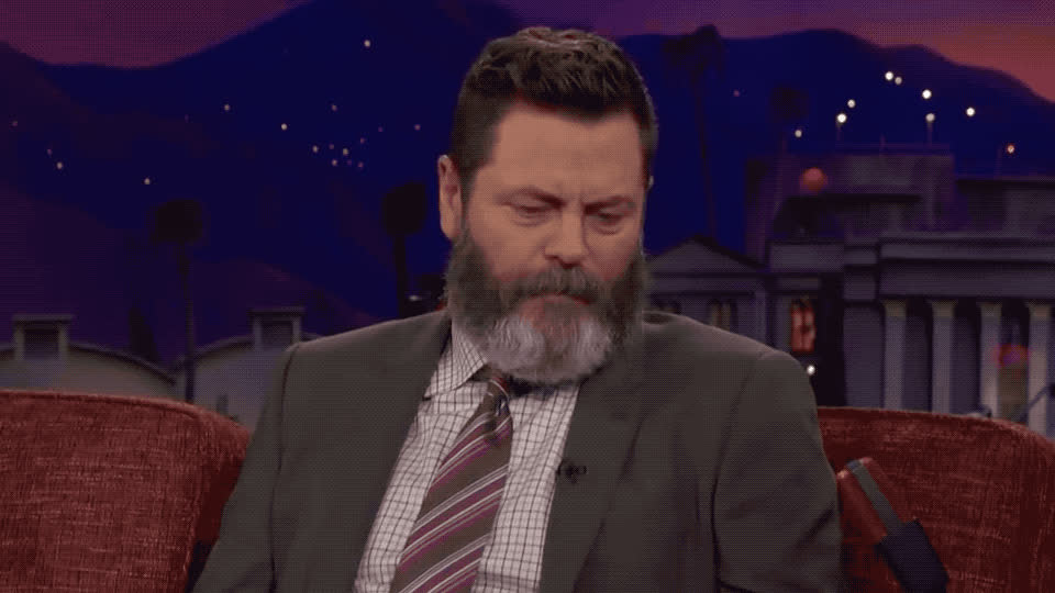 a, brien, conan, confused, fuck, god, minute, my, nick, no, o, offerman, oh, omg, surprise, the, wait, way, what, wtf, Nick Offerman in shocked GIFs