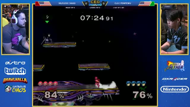 CEO Dreamland 2017 SSBM - Selfless | HugS (Samus) Vs. CLG | PewPewU (Marth) Smash Melee Losers Top 8