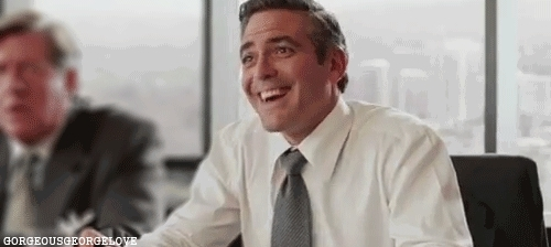 george clooney, laughing clooney GIFs