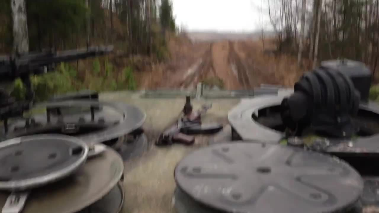 MilitaryGfys, noisygifs, CV9030s concentrate their fire on a T-55 target downrange, Leopard 2 moves in to