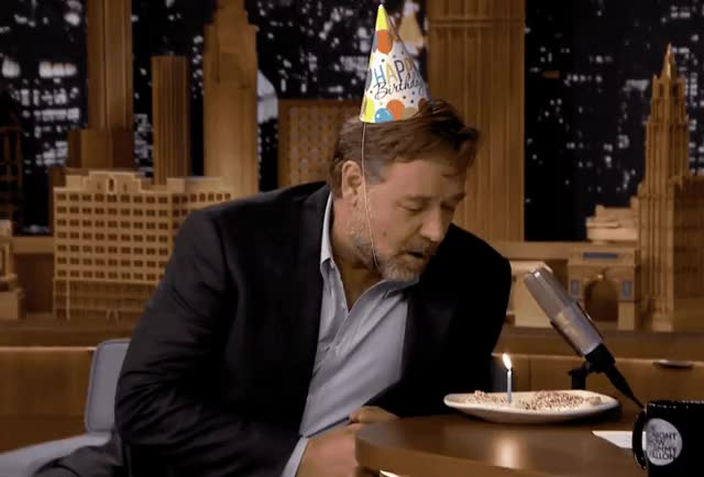 Watch this birthday GIF by GIF Queen (@ioanna) on Gfycat. Discover more a, bday, birthday, blow, cake, candle, crowe, fallon, happy, happy birthday, jimmy, make, party, russell, show, surprise, tada, tonight, wish GIFs on Gfycat