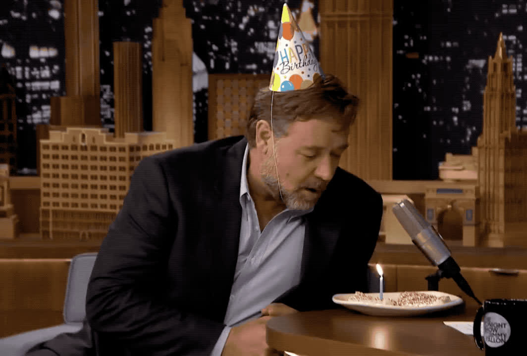a, bday, birthday, blow, cake, candle, crowe, fallon, happy, happy birthday, jimmy, make, party, russell, show, surprise, tada, tonight, wish, Happy birthday Russell Crowe GIFs