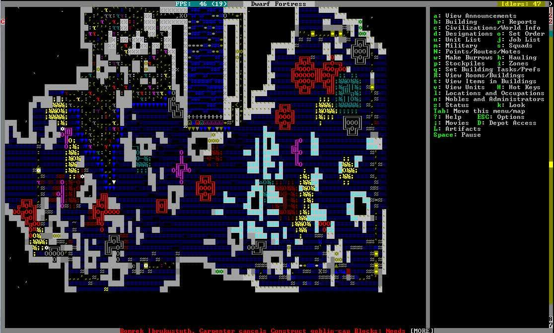 dwarffortress, Draining the cavern lake so I can cut those delicious trees. (reddit) GIFs
