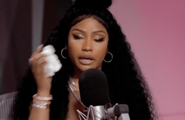 crying, emotional, feels, nicki minaj, sad, tears, Nicki Minaj: On Cardi B, Migos & 'MotorSport' | Beats 1 | Apple Music GIFs