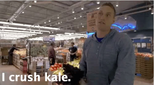Being creepy as he buys Brussel Sprouts: GIFs