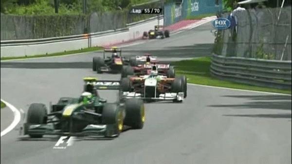 formula1gifs, Massa overtakes Sutil while both lap Kovalainen, Canada 2010. (reddit) GIFs