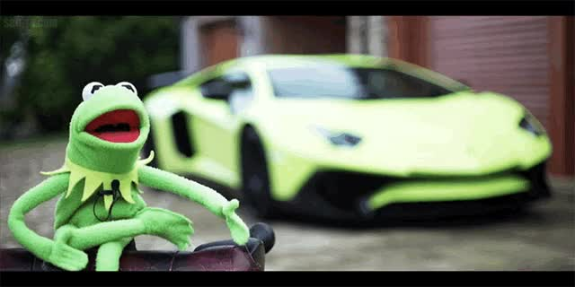 Watch and share Watch Kermit The Frog Review His Lamborghini Aventador SV GIFs on Gfycat