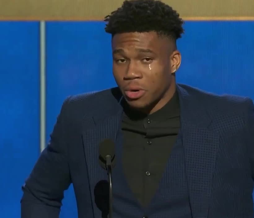 2019, antetokounmpo, award, awards, aww, basketball, cry, crying, emotional, giannis, most, nba, player, sad, speech, tears, thank, upset, valuable, Giannis Antetokounmpo is getting emotional GIFs