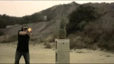 Watch and share RIP Ammo Vs Pineapple - RatedRR Slow Mo GIFs on Gfycat
