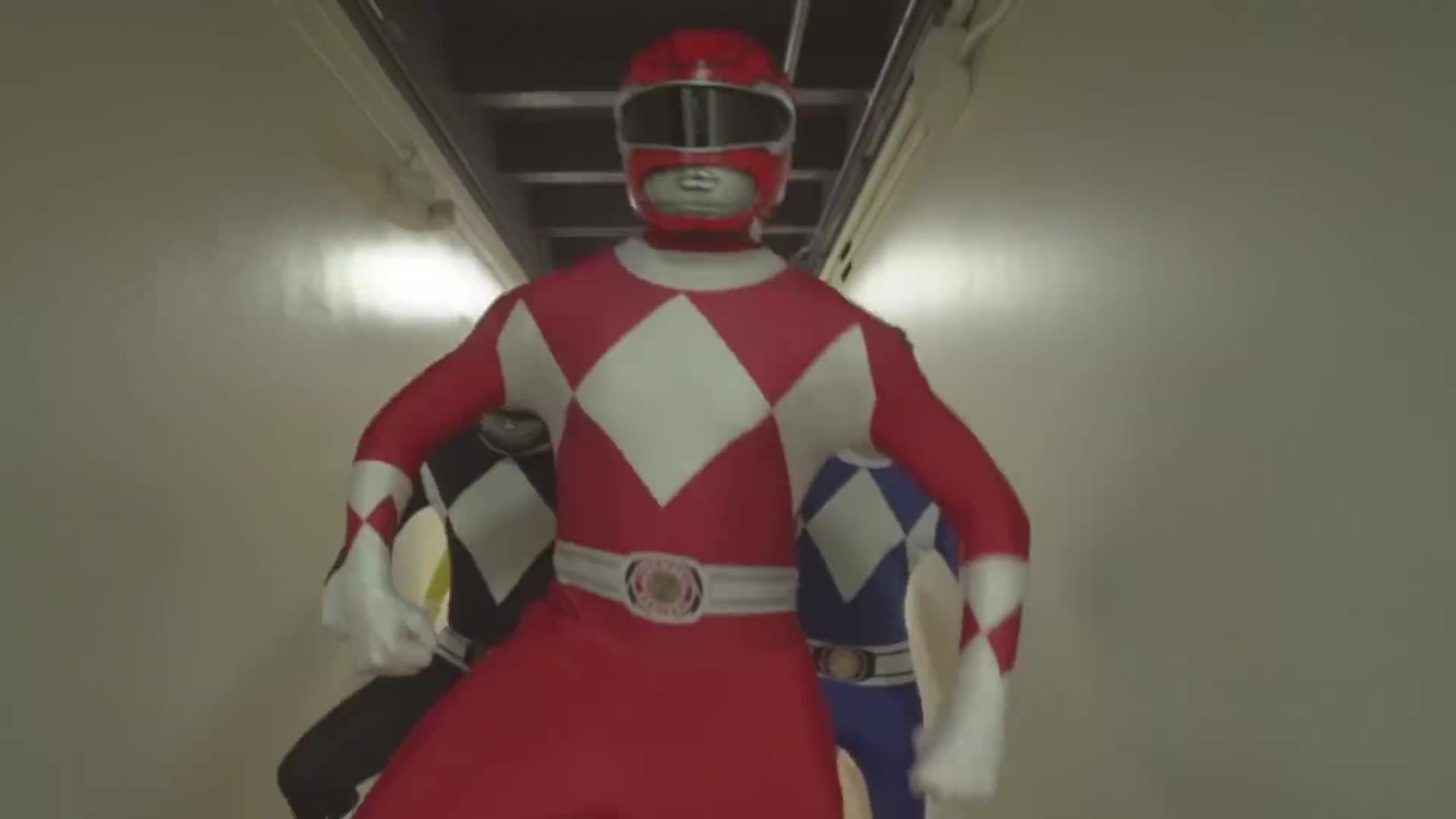mighty morphin power rangers, power rangers, Power Rangers Hall Chase GIFs