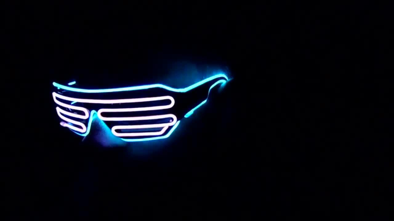 d48adaa9ef Lerway Black Frame Neon El Wire LED Lighting Glasses GIF