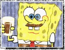 Watch and share Sponge Bob With Chocolate Milk Moustache animated stickers on Gfycat