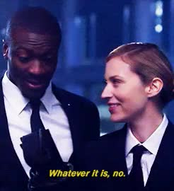 Watch crying probably GIF on Gfycat. Discover more aldis hodge, alec hardison, beth riesgraf, leverage, mine, old dimensions, parker, pretzels, q, the first contact job GIFs on Gfycat