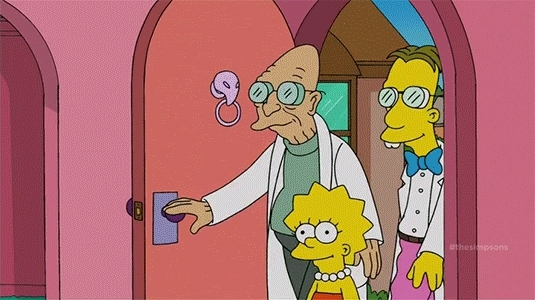 GfycatDepot, showerthoughts, Good news everyone! That just means it's bad. [The Simpsons Futurama cartoon cross over Professor Farnsworth Billy West Philip J. Fry Bart intro enter room opposite wrong lies lie lying liar nope] (reddit) GIFs