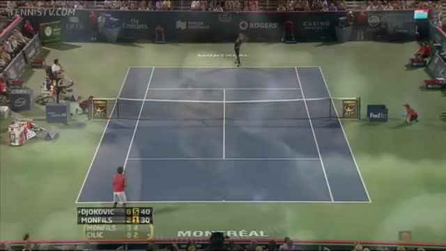 Watch and share Monfils Hot Shot Djokovic GIFs on Gfycat