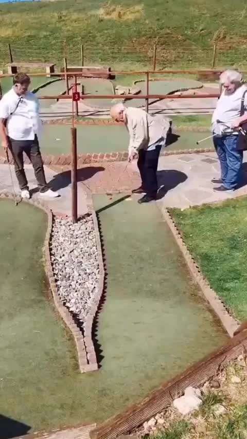 Watch and share Grandpa Hits Epic Hole In One GIFs by MyNameGifOreilly on Gfycat