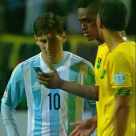 soccer, sportsarefun, Jamaican player (Deshorn Brown) grabs a selfie with Messi after their match with Argentina in the Copa America (reddit) GIFs