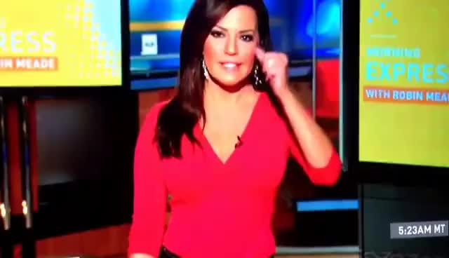 Watch and share Robin Meade Red Low Cut Top Shows Some Cleavage,and Blue Jeans (Nice As Always) 12/3/13 GIFs on Gfycat