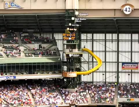 Bernie Brewer, Miller Park, Milwaukee Brewers, And Bernie Goes Down the Slide GIFs