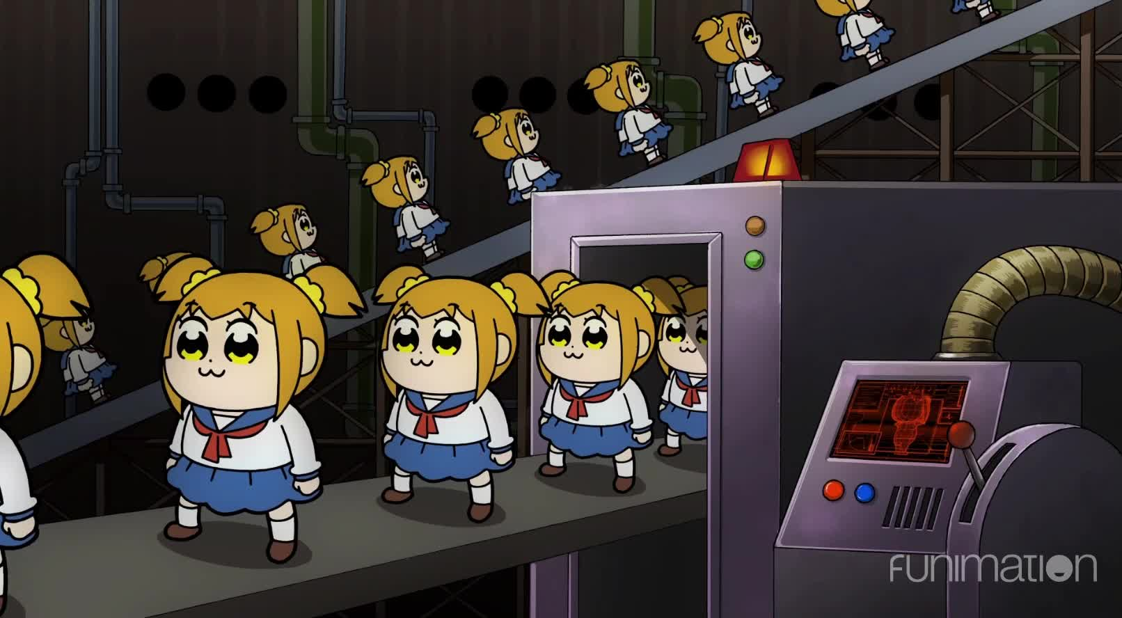 anime, cartoon, comedy, funimation, funny, pop team epic, pop team epic episode 4, Assembly line GIFs