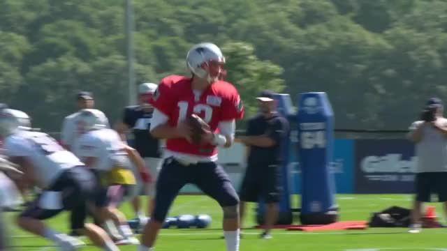 Watch and share Brady Attempts To Elude Blocking Pad Thrown By Belichick GIFs on Gfycat