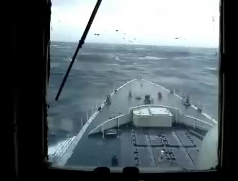 Watch and share Watch Massive Rogue Wave Hits Navy Ship GIFs on Gfycat