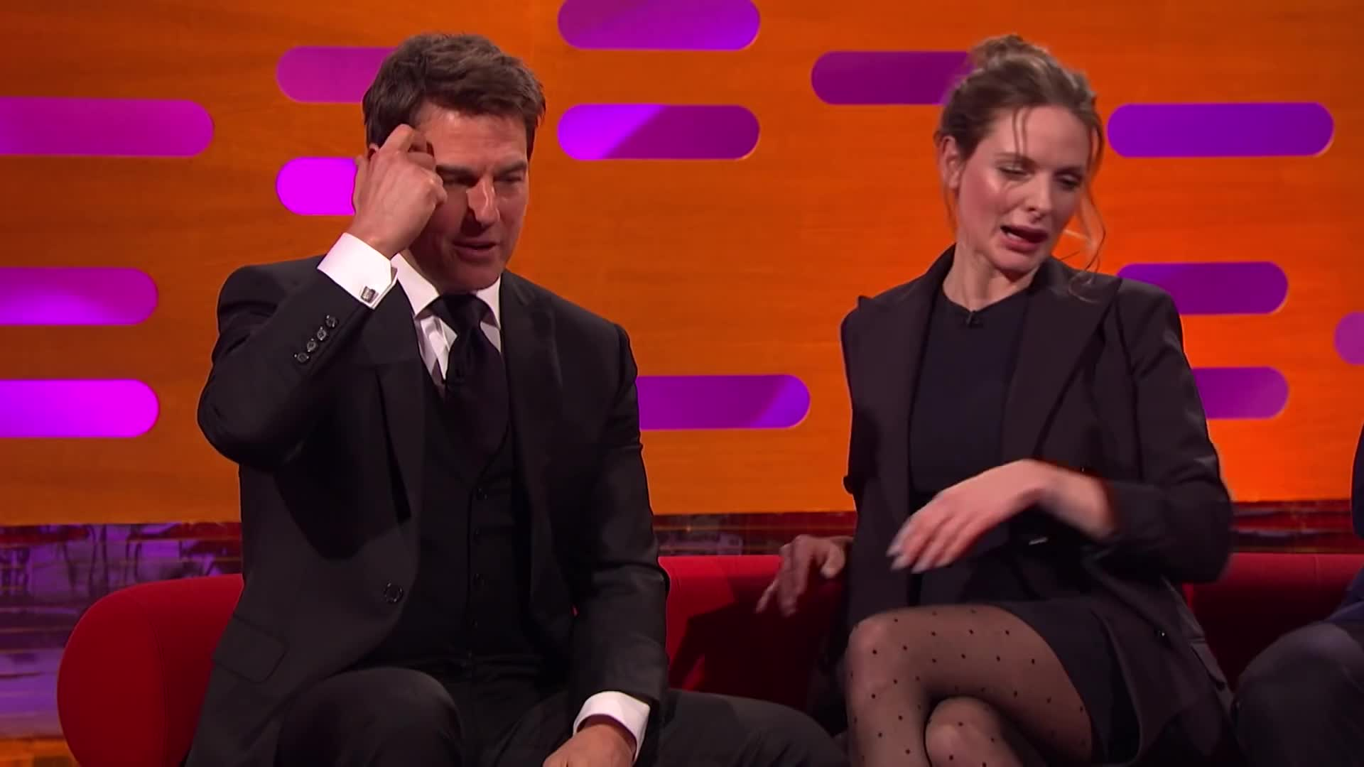 The Graham Norton Show 2018, celebs, henry cavill, rebecca ferguson, simon pegg, the graham norton show 2018, tom cruise, Tom Cruise Reacts to Slow-Mo Footage of How He Broke His Ankle | The Graham Norton Show GIFs