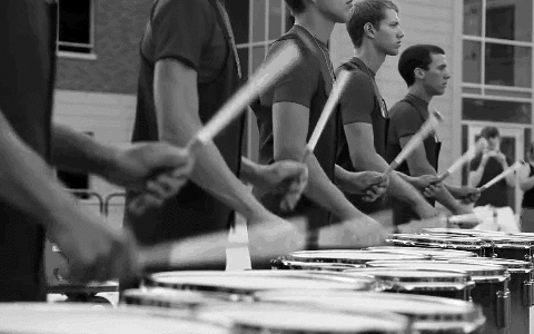 band, black and white, dci, drumcorp, drumline, drums, gif, marching, marching band, music, percussion, santa clara vanguard, tenors, vanguard,  GIFs