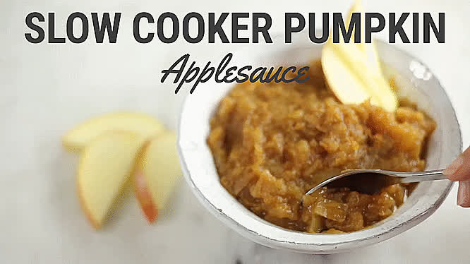 GifRecipes, vegangifrecipes, Slow Cooker Pumpkin Applesauce GIFs