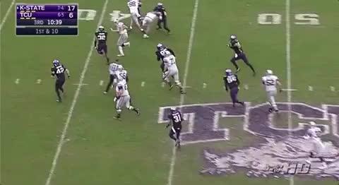 Ertz, K-State, Stiff arm, TCU, bitch slap, Jesse Ertz K-State QB bitch slaps TCU's linebacker Kansas State GIFs