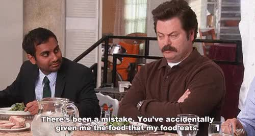 Watch and share Ron Swanson GIFs and Vegetarian GIFs on Gfycat