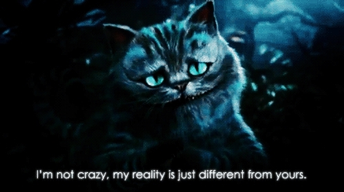 Cheshire cat, alice in wonderland, cat, cheesire, cheesire cat, cheshire, crazy, different, gif, i'm not crazy, im not crazy, mad, reality, weird,  GIFs