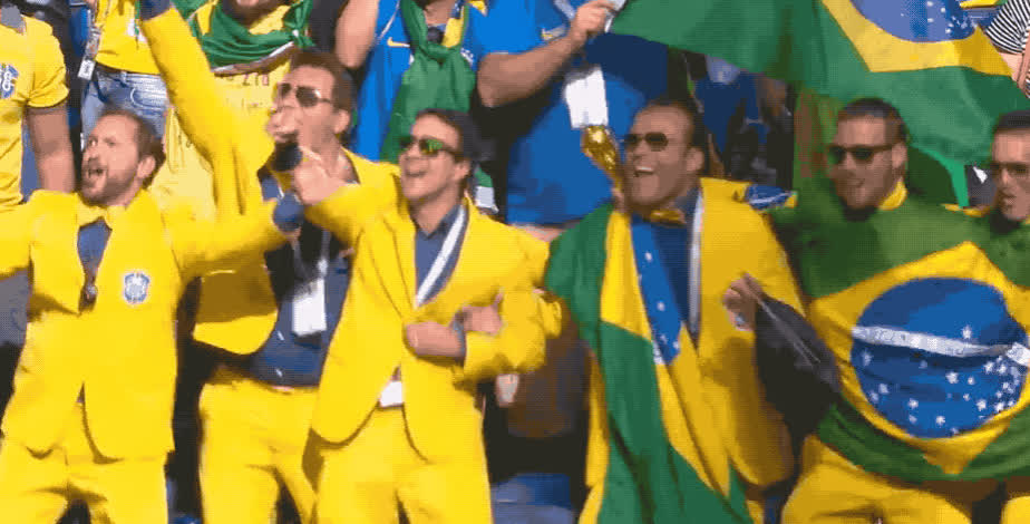 2018, brazil, celebrate, cup, dance, drunk, excited, flag, happy, hooray, mundial, party, russia, suits, sunglasses, victory, world, yay, yeah, yellow, Brazil fans GIFs