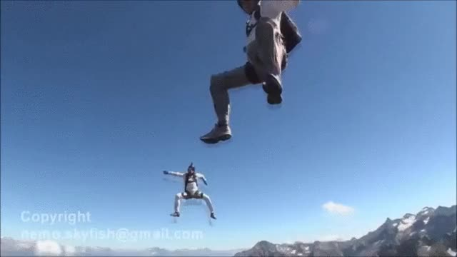 Watch Skydiver doesn't realize how quickly he's running out of altitude. (reddit) GIF on Gfycat. Discover more SkyDiving, SweatyPalms, nonononoyes GIFs on Gfycat