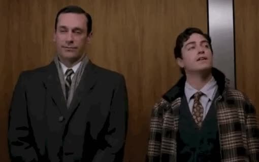 Watch and share Elevator GIFs and Jon Hamm GIFs on Gfycat