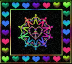 animated peace and love symbol surrounded by figures holding hands, framed in colorful hearts