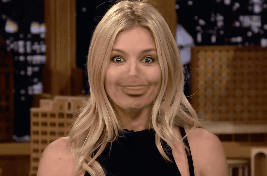awkward, fallon, flip, funny, ha, haha, hehe, hilarious, jimmy, laugh, lip, lol, loud, miller, out, show, sienna, tonight, Lip flip with Sienna Miller GIFs