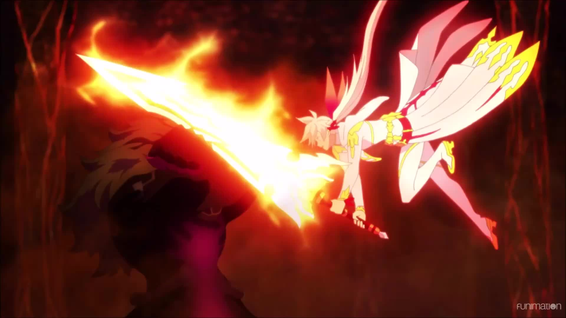anime, fantasy, funimation, tales of zestiria the x, tales of zestiria the x episode 24, talesofzestiriathex, talesofzestiriathexepisode24, ufotable, Heldalf pushes Soreliah off of him. Tales of Zestiria the X Ep 24 GIFs