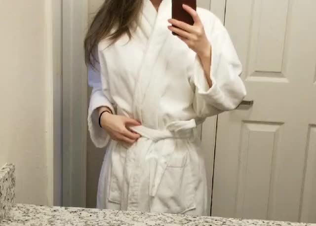 Clean fluffy white bathrobe + boobies :)