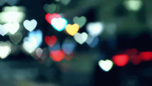 bokeh, hearts, lens flare, love, street lights, Hearts Bokeh GIFs