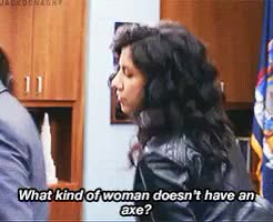 Watch have an axe GIF on Gfycat. Discover more stephanie beatriz GIFs on Gfycat