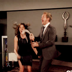 Robin Scherbatsky, barney stinson, celebrate, celebration, champagne, cobie smulders, excited, himym, how i met your mother, jumping on the bed, neil patrick harris, nph, party, yay, How I Met Your Mother Champagne  GIFs