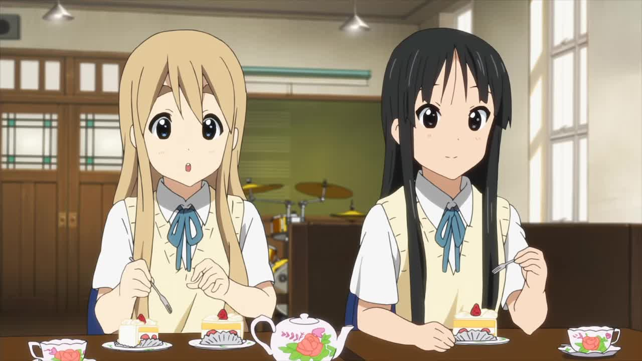 anime, funny, hello darkness my old friend, k-on, k-on / mugi strawberry thief GIFs